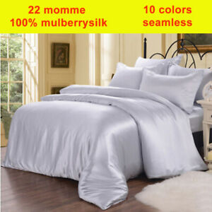 4pc 22Momme 100% Mulberry Silk Duvet Cover Fitted/Bottom Sheets Pillowcases Set