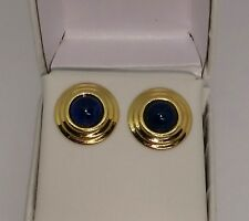 Natural Iolite Round Stud Earrings Solid 14k Yellow Gold/ Aretes de Oro