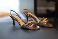 Bruno Magli Rare Tan & Brown Leather Sandals Slingbacks Shoes Heels New Size 7.5