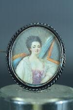 Miniature Portrait Jeune Femme à sa toilette Broche Louis XVI  18e N°7