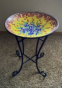 Multi Color Glass Mosaic Bird Bath With Black Metal Stand