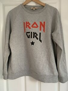 RIKA STUDIOS IRON GIRL Grey Sweatshirt L LARGE UK 12 14