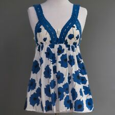 Danesa Estilo Mod Azul Floral Túnica Estampada Blusa de Verano 100% ALGODÓN S/M
