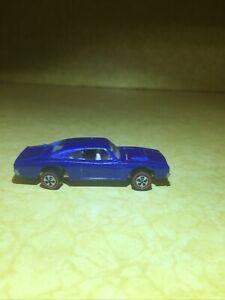 Vintage 1968 Redline Hotwheels CUSTOM DODGE CHARGER Blue White Interior USA