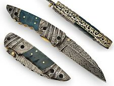 Browning Hand Crafted Folding Knife Damascus Blade & Bolsters Green Col AT-1413