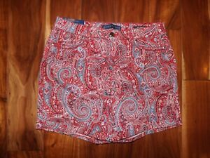 Bandolino Womens NWT Red Blue Bonfire Paisley Amy 5 Pocket Shorts Size 12