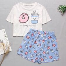 Ladies Pyjamas Pyjama Set Bottoms Cute Girls Short Sleeve Print Top and Shorts
