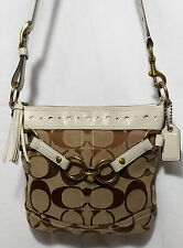 Coach 10564 Signature Khaki Brown Crossbody Shoulder Bag with White Leather Trim