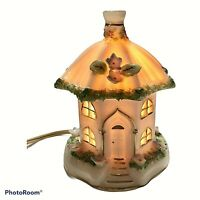 "Vintage Night Light Portable Table Lamp Ceramic Fairy House Working 5"" x 3.5"""