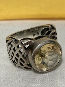 SILPADA Sterling Silver 925 Celtic Open Weave CITRINE Ring SIZE 8 *FLAW STONE*