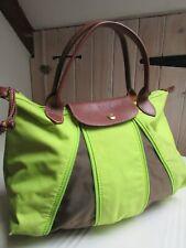 LONGCHAMP Vintage Designer Leather Fabric Summer Bag Lime Green Tan Le Pliage