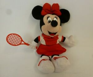 """Disneyland Minnie Mouse Plush Toy Tennis Player Red White 10"""" Racket # CH0006"""