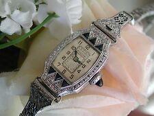 1930 Ladies Art Deco Sapphire Bulova Watch ~ Miss Liberty~Sapphire Filigree Band