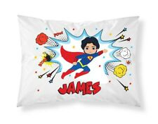 Personalised Children Superhero Pillowcase Printed Gift Custom Print New 101
