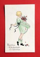 Künstler Glückwunsch AK GEBURTSTAG um 1923 Mädchen mit Blumen  ( 45194