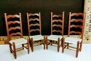 4-Vintage Sonia Messer Doll House Miniature Wood Ladder Back Dining Chairs