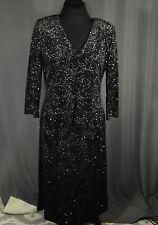 Vintage Black Silver Dress Size 10 Wedding Shiny One Piece Long Sleeve Shoulder