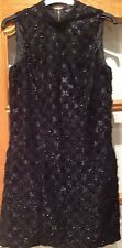 miss selfridge stunning black high neck party glitter shift dress - size 8