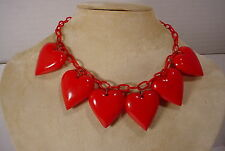 Vintage Red Celluloid Chain Red PUFFY Hearts Plastic Charms Necklace  Choker
