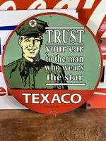 1953 VINTAGE STYLE ''TEXACO'' PORCELAIN SIGN 12 INCH GREAT SUBJECT MATTER! USA