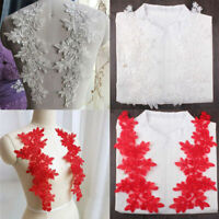 1Pair Applique 3D Lace Trim Embroidery Sewing Motif DIY Wedding Crafts Decor