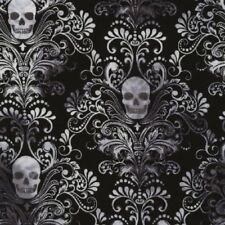 Skulls Damask Black STRETCH KNIT Fabric 1/2 YARD