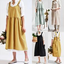 Women Cotton Dress Linen Cross Back Apron Japanese Housework Florist Baking Wrap