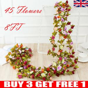 45 Flowers 8Ft Artificial Silk Rose Flower Hanging Garland Vine Wedding Decor UK