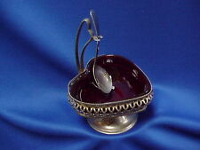 Sheffield ENGLAND Silverplate RUBY RED GLASS Heart Shape Relish Dish with Spoon