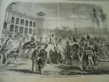 Gravure 1859 - Courses d'automne bois de boulogne enceinte du pesage