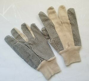 Cotton Canvas Industrial Work Gloves Black PVC Dots 12 Pairs Sz Large New Open