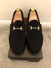 Gucci Mens Shoes Black Suede Gold Horsebit UK 9
