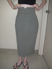 Vintage 80s Women Skirt Pencil Hobble High Waist Khaki 100% Cotton Stefano Usa