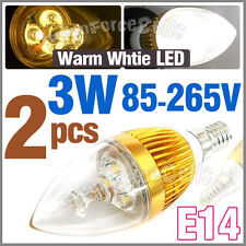 2 E14 Bulb 3W LED 300LM Warm White 85~265V Candle Lens Clear Lamp Energy saving