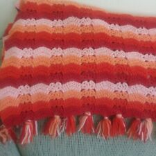 Afghan Crochet Blanket Handmade Nit Throw Blanket Retro Red Orange 78X50