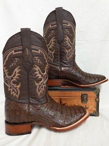 Los Altos Men's Wide Sq.Toe Caiman Belly 8228207 Western Boots $518