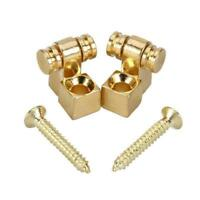 Gold Set of 2pcs Roller String Retainer Trees for Electric Guitar Bass Parts New