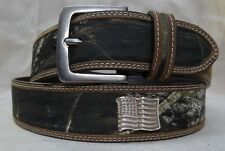 "MOSSY OAK CAMO LEATHER  & CANVAS BELT  - WITH ""AMERICAN FLAG "" CONCHOS  40"""