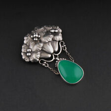 GEORG JENSEN Sterling Brooch # 125 with Green Agate. GJ Himself. VERY RARE!