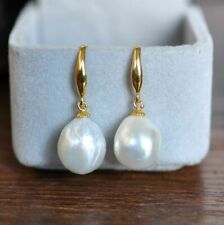 Gorgeous AAA 12-10mm South Sea White Pearl Earrings 14K YELLOW GOLD