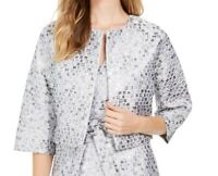 Natori Women's Jacket Silver Size Medium M Bolero Shrug Tile Jacquard $199 #295