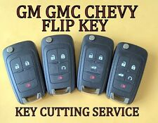 GM GMC CHEVY BUICK FLIP KEY KEYLESS REMOTE TRANSMITTER KEY CUTTING SERVICE