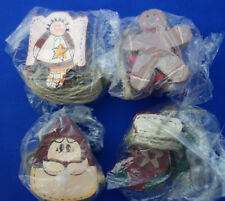 4 Christmas craft necklace crafted wood bead snowman angel Santa gingerbread man
