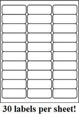 3000 Premium 2625 X 1 Self Adhesive Address Labels 30 Per Sheet 30 Up