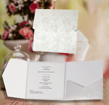 BRIGHT WHITE BRODERIE POCKETFOLD INVITES 'GLORIANA'+ CARD/BLANK INSERT/ ENVELOPE