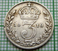 GREAT BRITAIN GEORGE V 1918 THREEPENCE 3 PENCE, SILVER