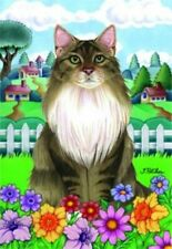 Spring House Flag - Grey and White Maine Coon Cat 76002