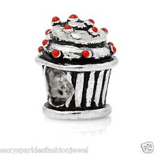European Christmas Cup Cake with red sprinkle effect Charm -3763