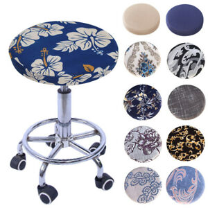 Round Chair Cover Floral Printed Elastic Seat Cover Chair Cushion Slipcover