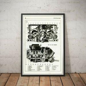 "VW 411 & 412 Engine Diagram POSTER! (up to 24"" x 36"") - Antique - Volkswagen Art"